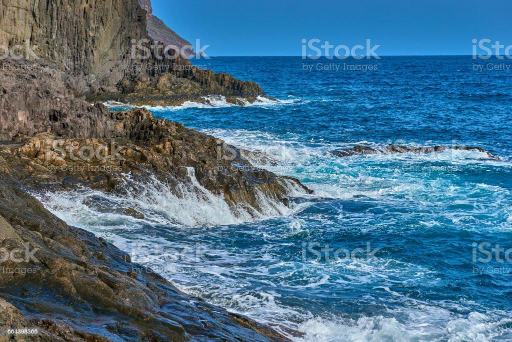 Famous beach Playa de las Teresitas,Tenerife, Canary islands, Spain stock photo