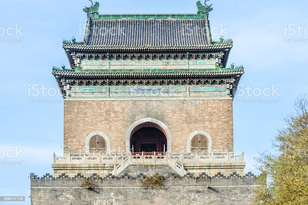 Famous Bell Tower in Beijing, China stock photo