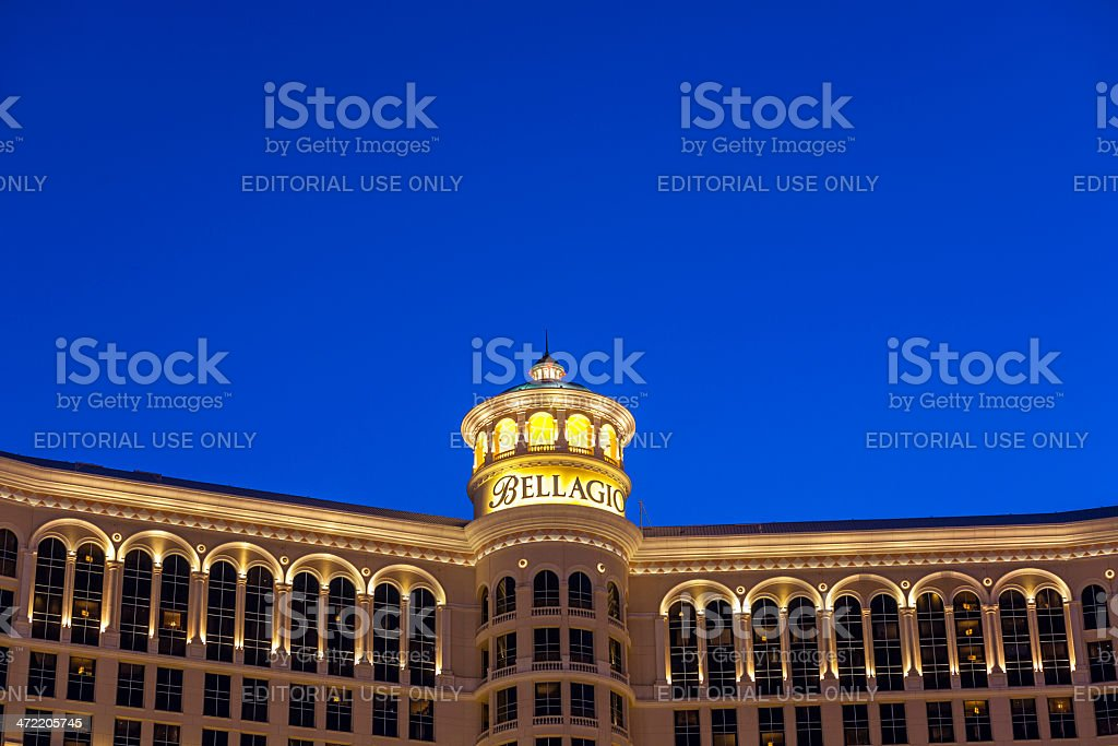 famous Bellagio Hotel with water games in Las Vegas stock photo