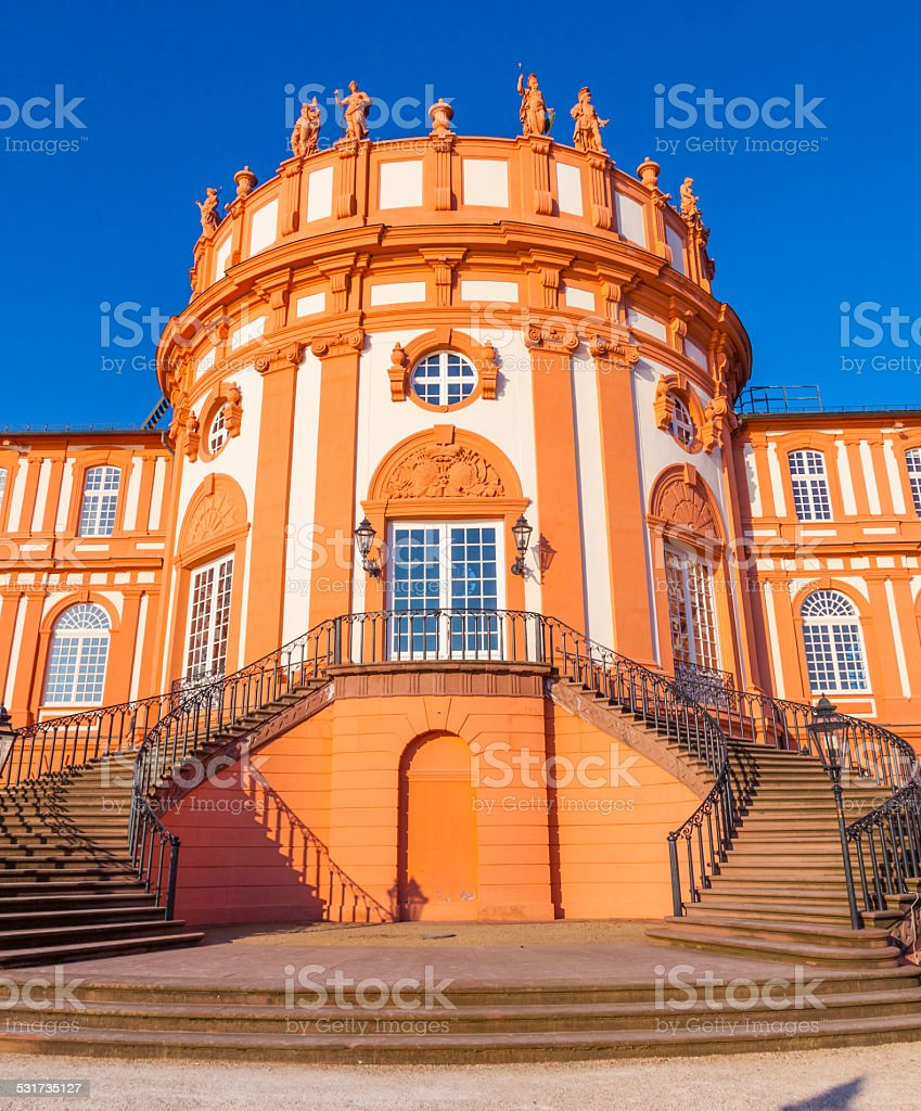 famous Biebrich Palace in Wiesbaden stock photo