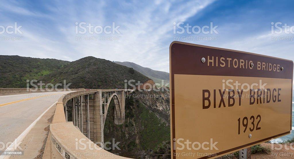 Famous Bixby Bridge on the Pacific Coast Highway stock photo