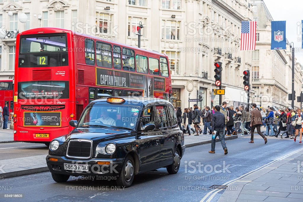 Famous Black Cab and Double-Decker Red Bus stock photo