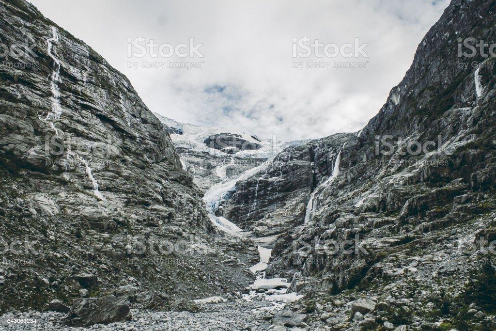 Famous bodalsbreen glacier in Bodalsdalen valley stock photo