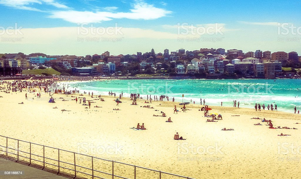 Famous Bondi Beach, Sydney. Retro-styled stock photo