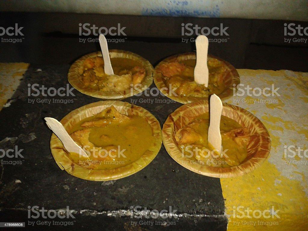 Berühmte Frühstück an ajmer (KADI KACHORI Lizenzfreies stock-foto
