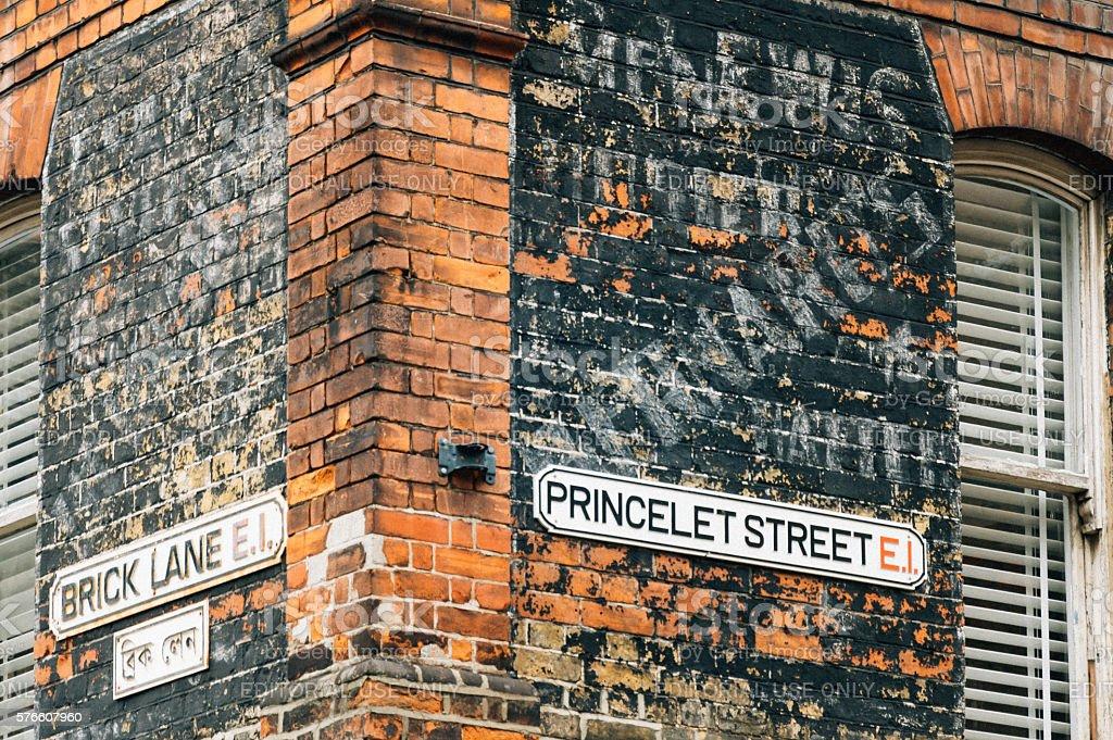 Famous Brick Lane street sign, London, England stock photo