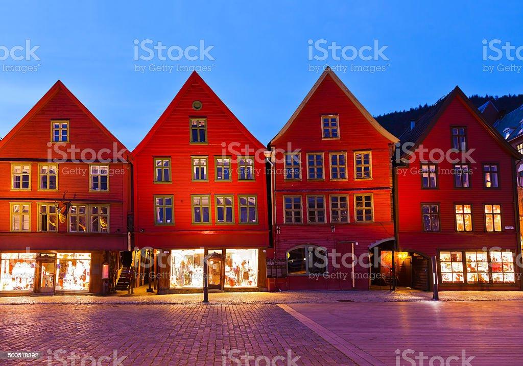 Famous Bryggen street in Bergen - Norway stock photo