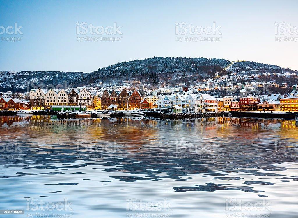 Famous Bryggen street in Norway stock photo