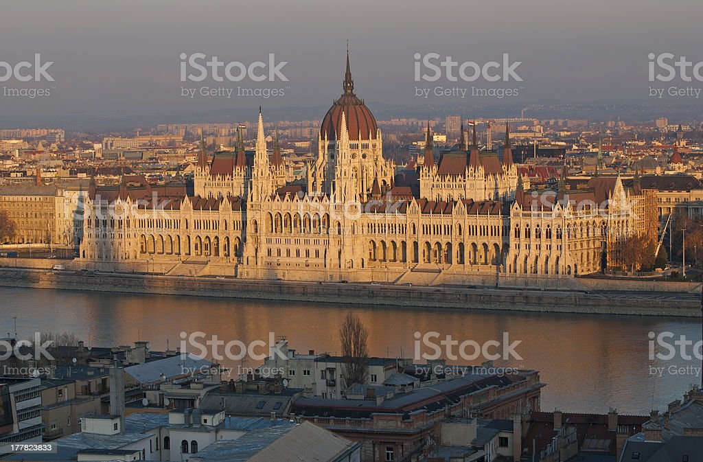 Famous building of Hungarian parliament in evening light royalty-free stock photo