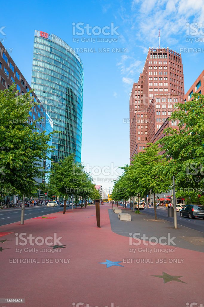 famous buildings and walk of fame at Berlin Potsdamer Platz stock photo