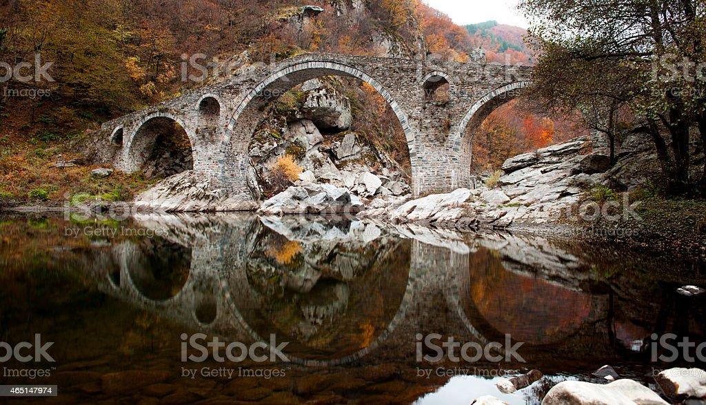 Famous Bulgarian Devil's Bridge Autumn stock photo