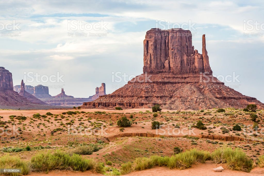 famous butte in Monument valley stock photo