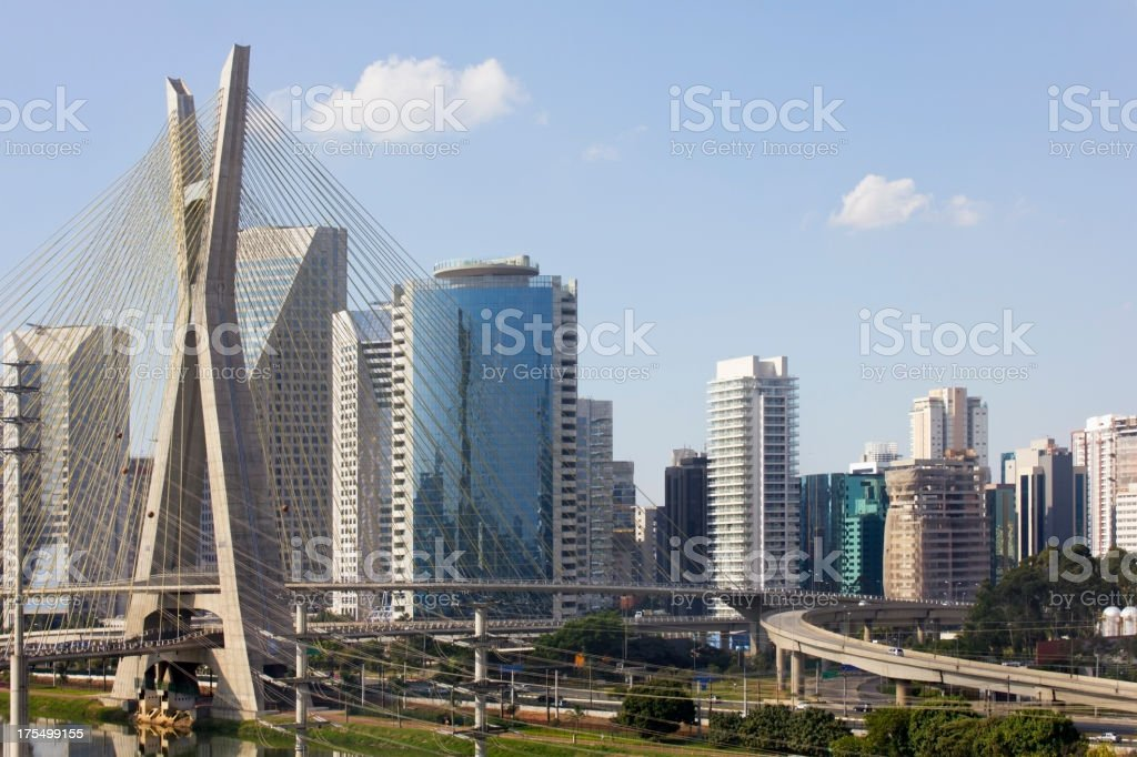 Famous cable stayed bridge at Sao Paulo city. royalty-free stock photo