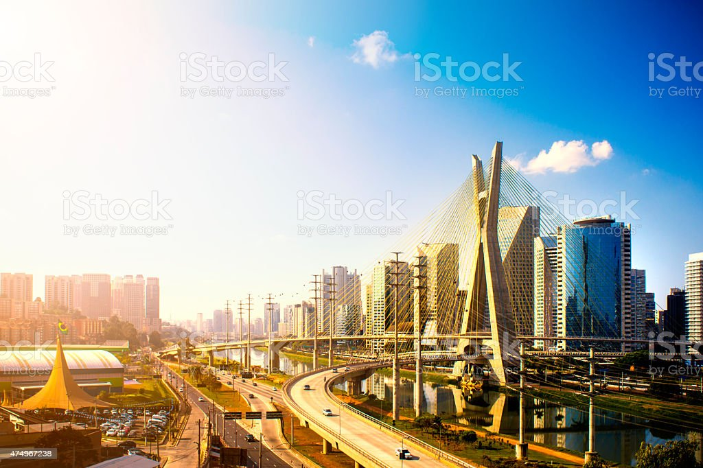 Famous cable stayed bridge at Sao Paulo city. stock photo
