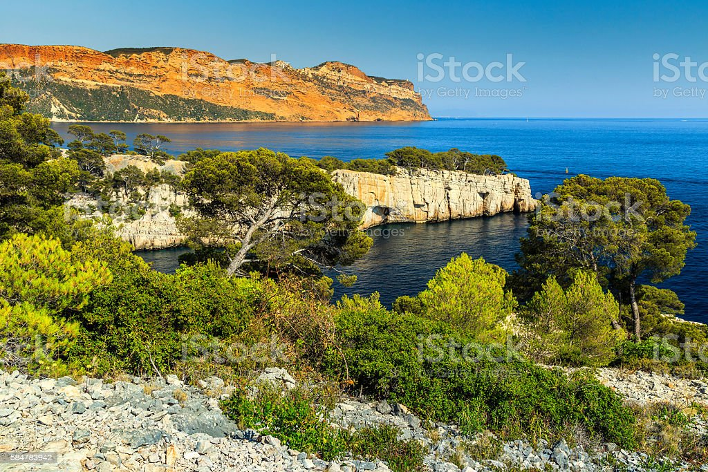 Famous Calanques of Port Pin in Cassis near Marseille,France stock photo