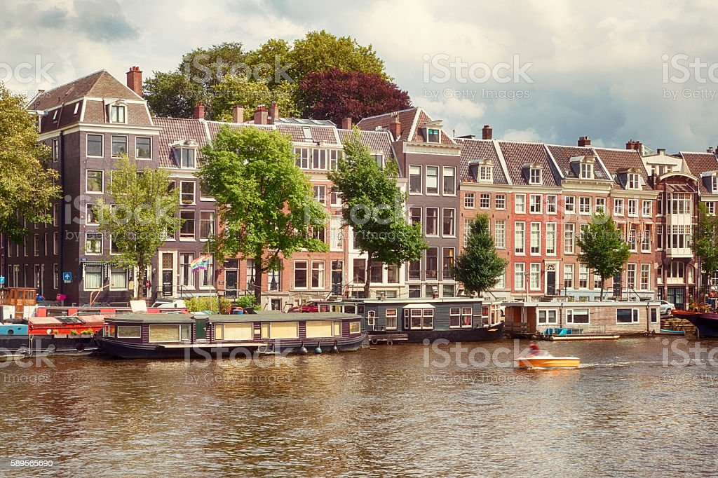 Famous Canals and Architecture of Old Amsterdam stock photo