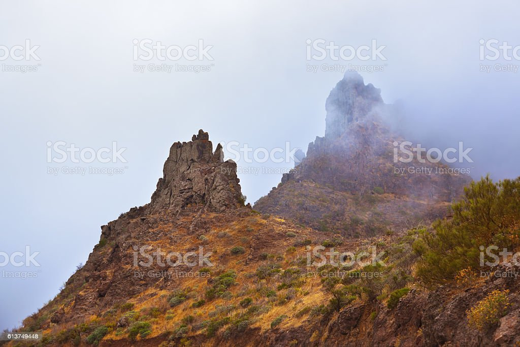 Famous canyon Masca in fog at Tenerife island - Canary stock photo