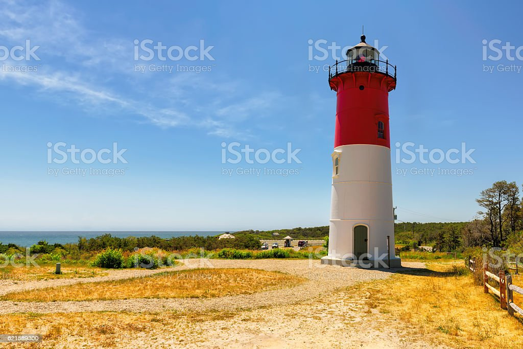 Famous Cape Cod lighthouse, Nauset lighthouse, Massachusetts stock photo