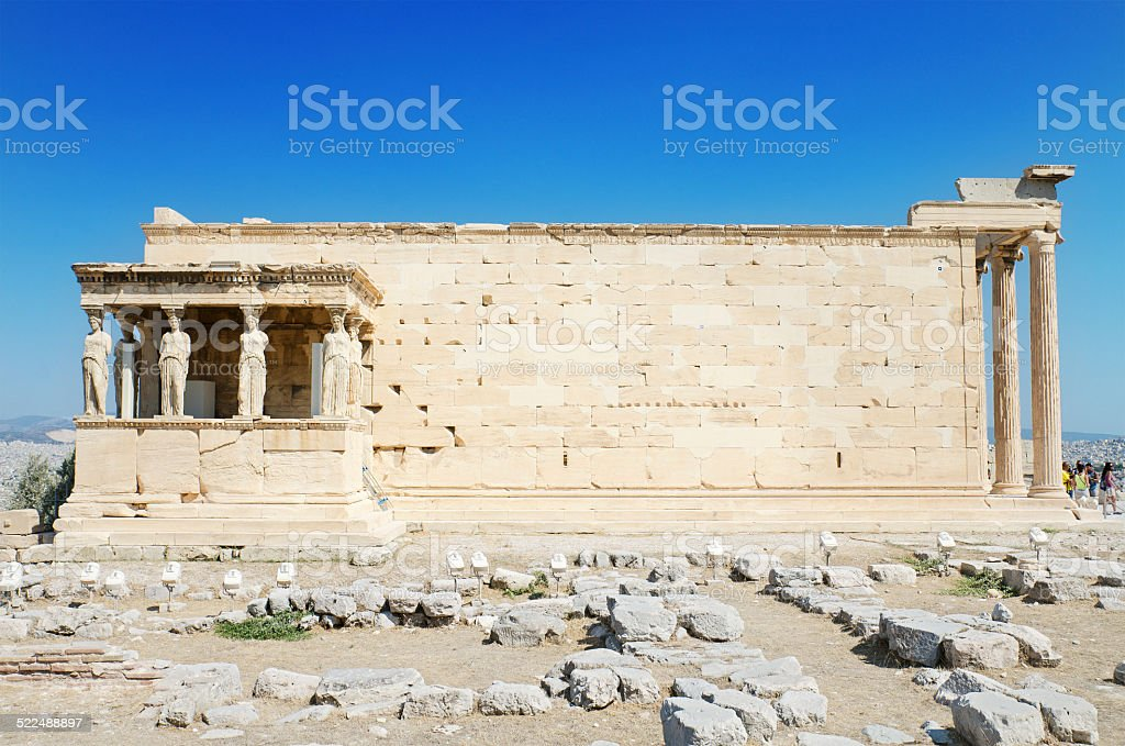 Famous cariathides temple in the Acropolis, Athens, Greece. stock photo