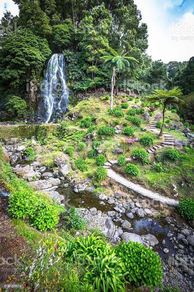 Famous cascade at Sao Miguel Island,Azores,Portugal stock photo
