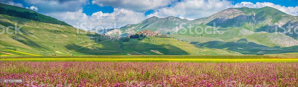 Famous Castelluccio di Norcia with beautiful summer landscape, Umbria, Italy stock photo
