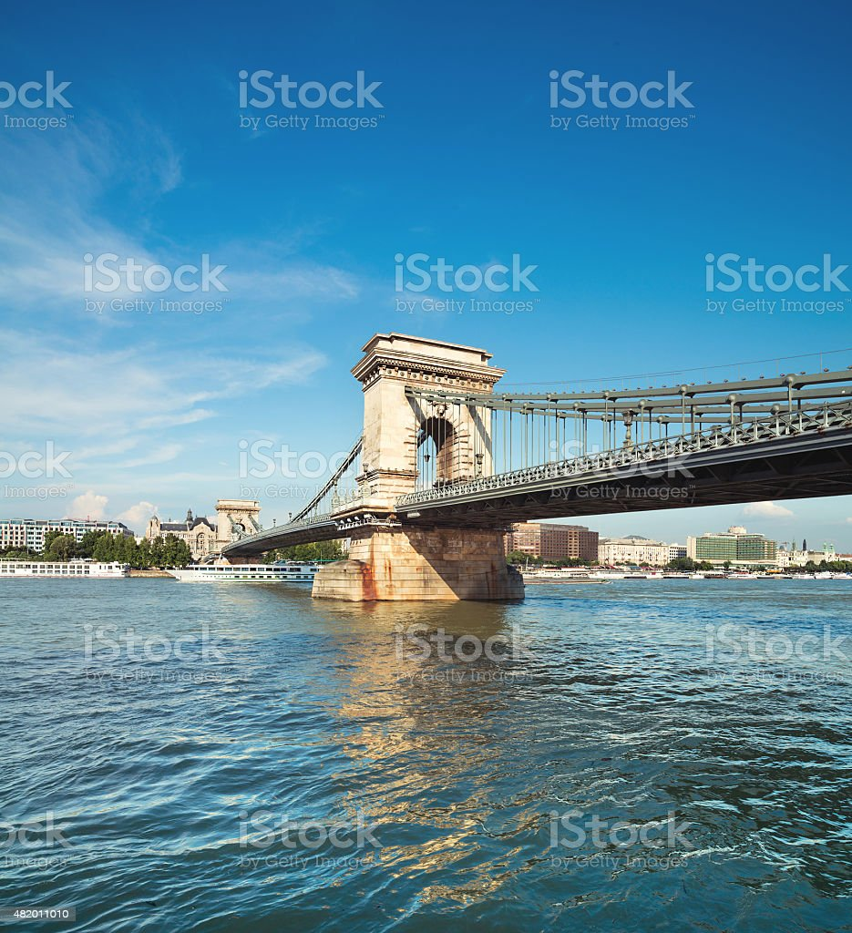 Famous Chain Bridge in Budapest, Hungary stock photo