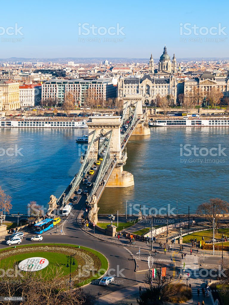 Famous Chain Bridge over Danube River and Saint Stephen's stock photo