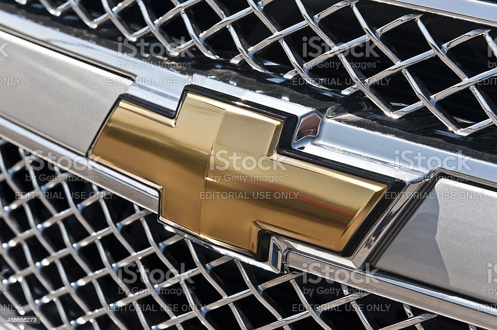 Famous Chevrolet Bow-Tie Emblem On Silverado Grill stock photo