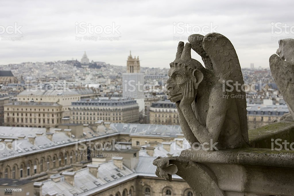 Famous chimera of Notre-Dame royalty-free stock photo