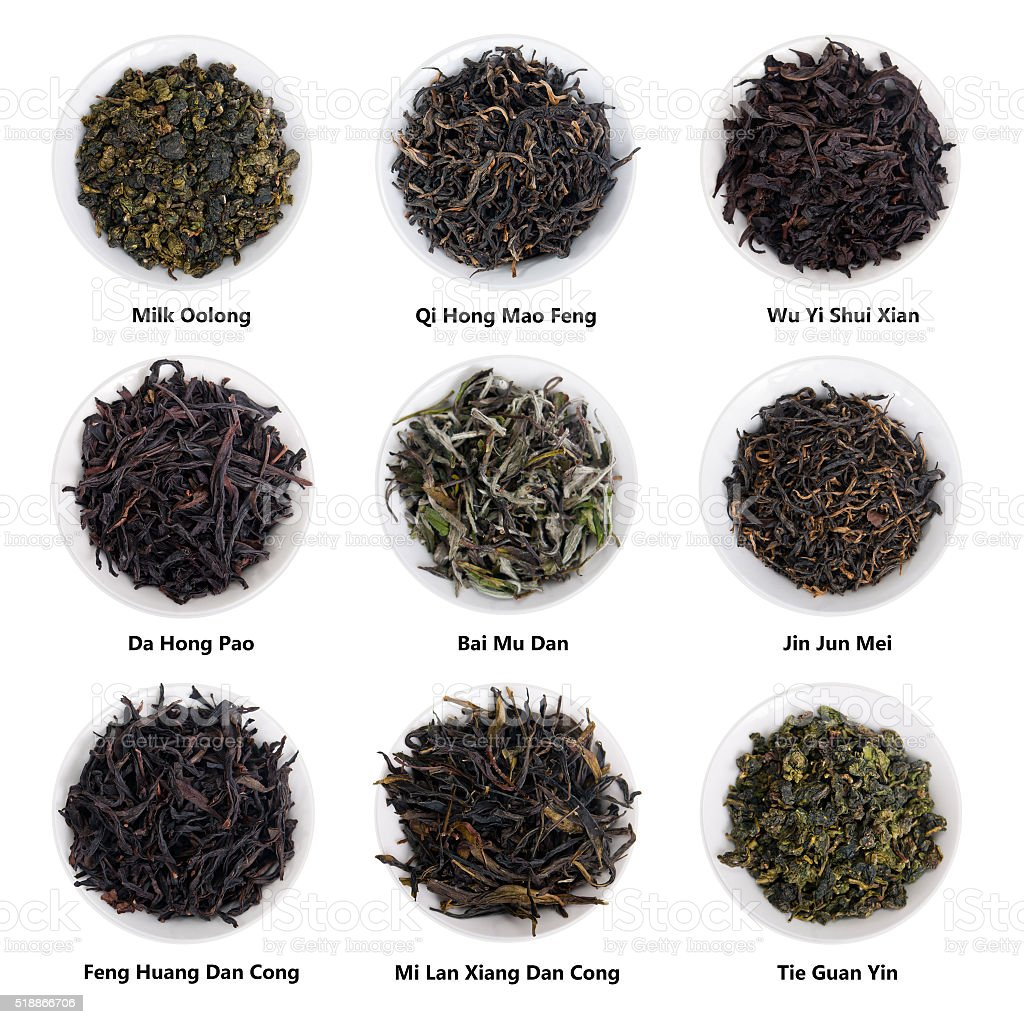 Famous Chinese Tea Collection. China Famous Tea Varieties stock photo