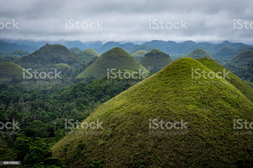 Famous Chocolate Mountains of Bohol Island, Philippines stock photo