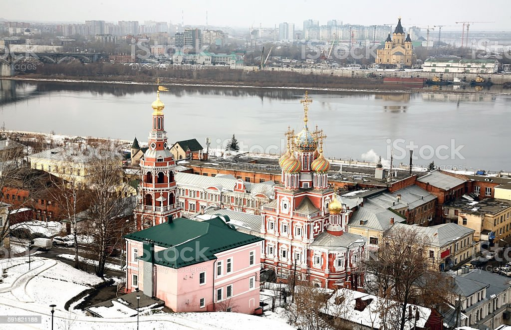 Famous christian churches in Nizhny Novgorod stock photo