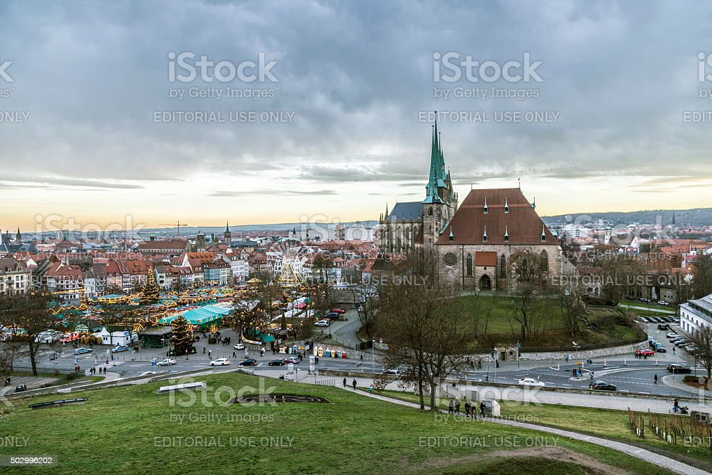 famous christkindl market in Erfurt, Germany stock photo