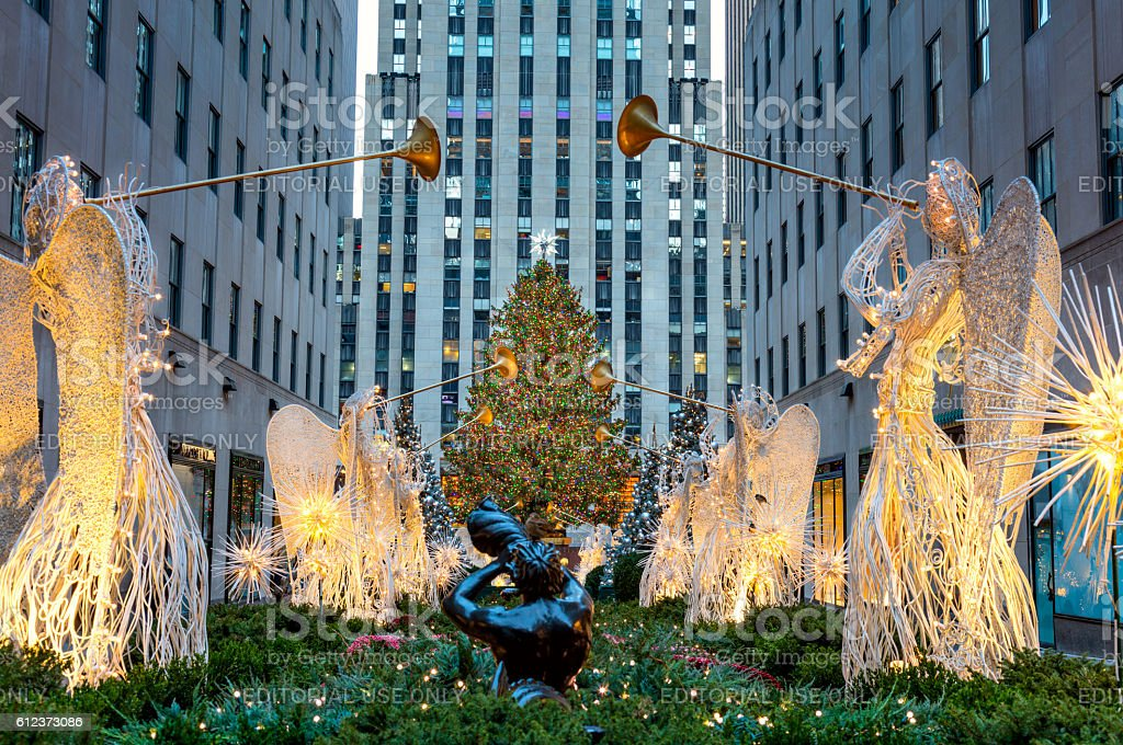 Famous Christmas Decoration with Angels and Christmas Tree, NYC stock photo