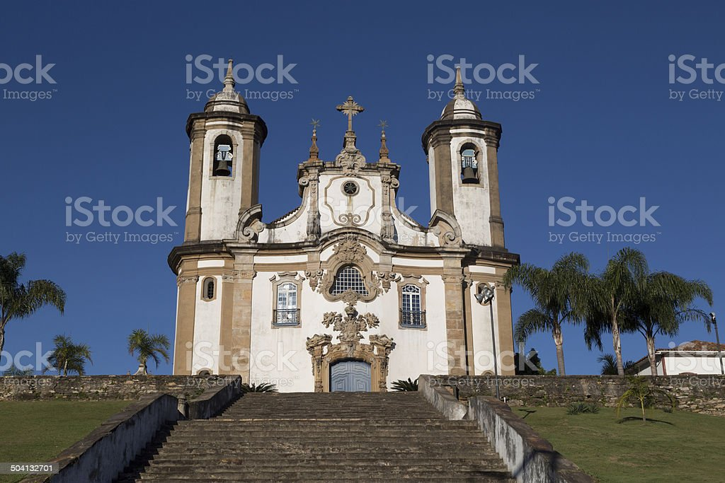 Famous church in Ouro Preto, State of Minas Gerais, Brazil royalty-free stock photo