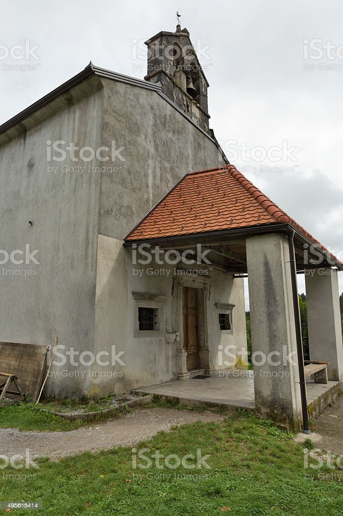 Famous Church Our Lady of Sorrows. Predjama, Slovenia. stock photo
