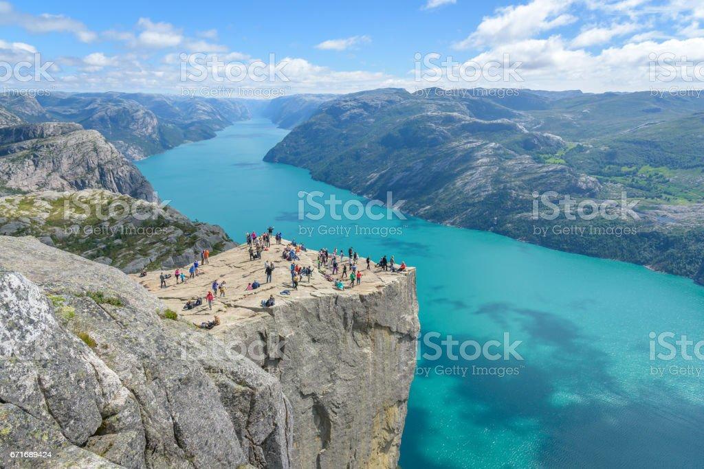 Famous cliff Pulpit Rock (Preikestolen) in Norway stock photo