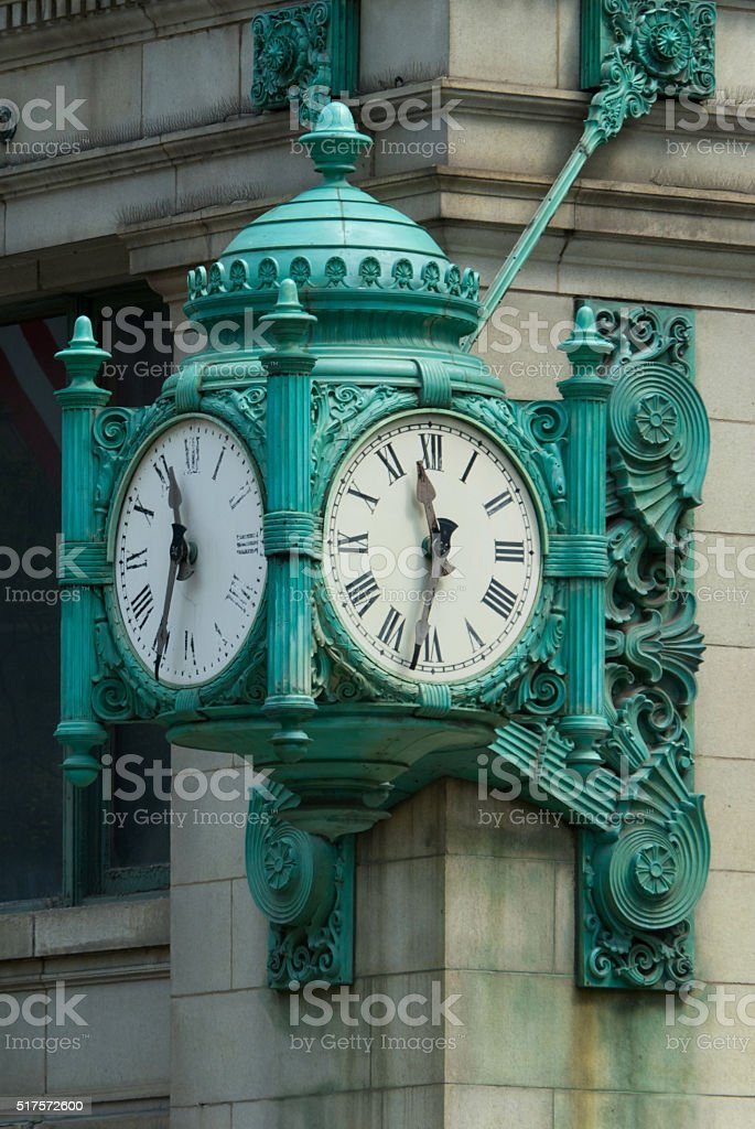 Famous Clock in Downtown Chicago on State Street, USA stock photo