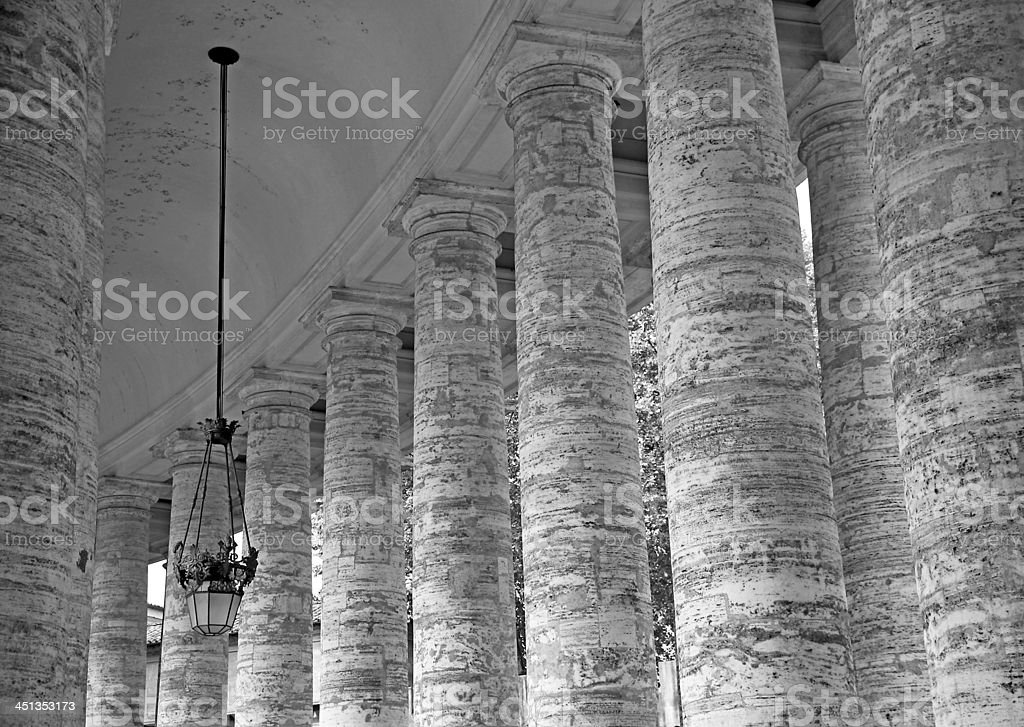 famous columns of Bernini's Colonnade in St. Peter's square stock photo