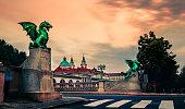 Famous Dragon bridge (Zmajski most), symbol of Ljubljana, capital of Slovenia.