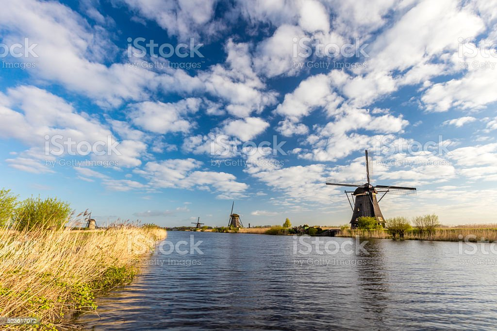 Famous Dutch Windmills At Kinderdijk stock photo