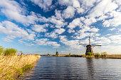 Famous Dutch Windmills At Kinderdijk