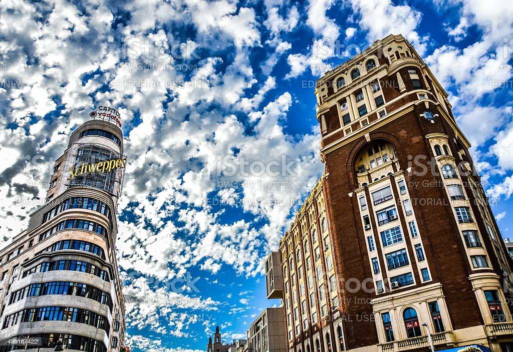 Famous Edificio Carrion in Madrid, Spain stock photo