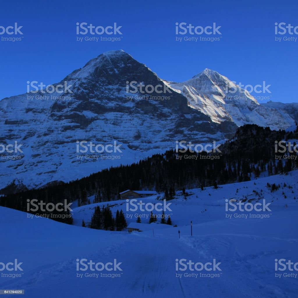 Famous Eiger north face, Switzerland stock photo