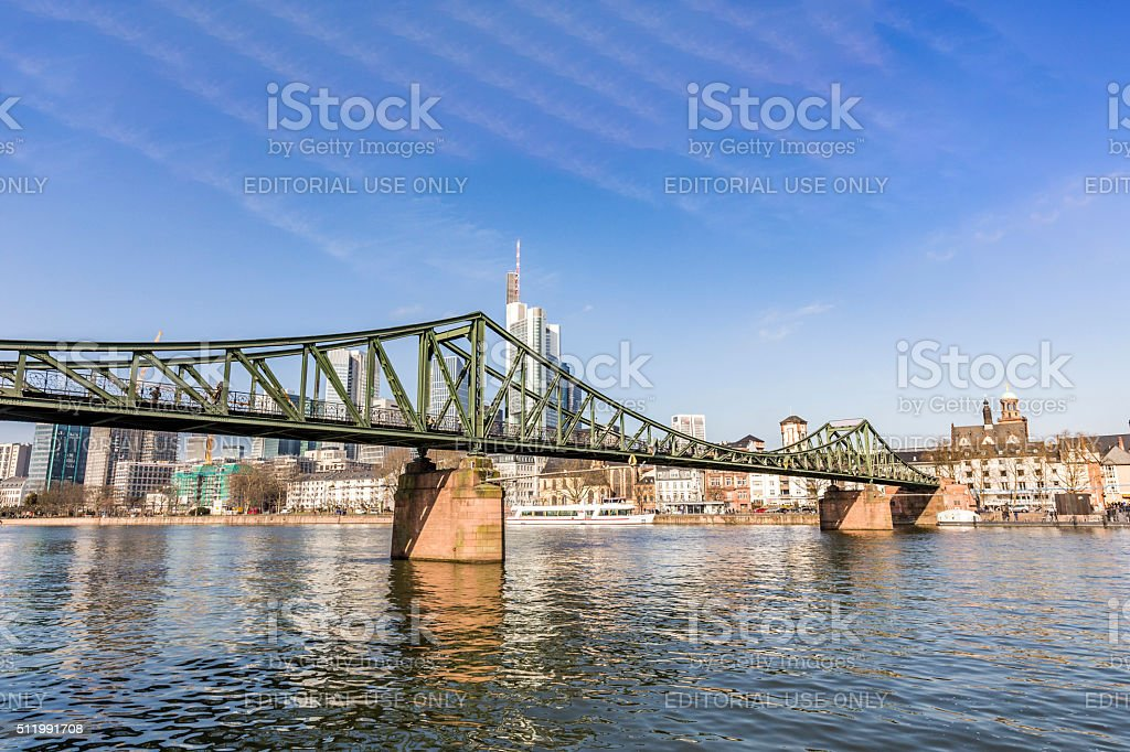 famous Eiserner steg with love locks over the river Main stock photo