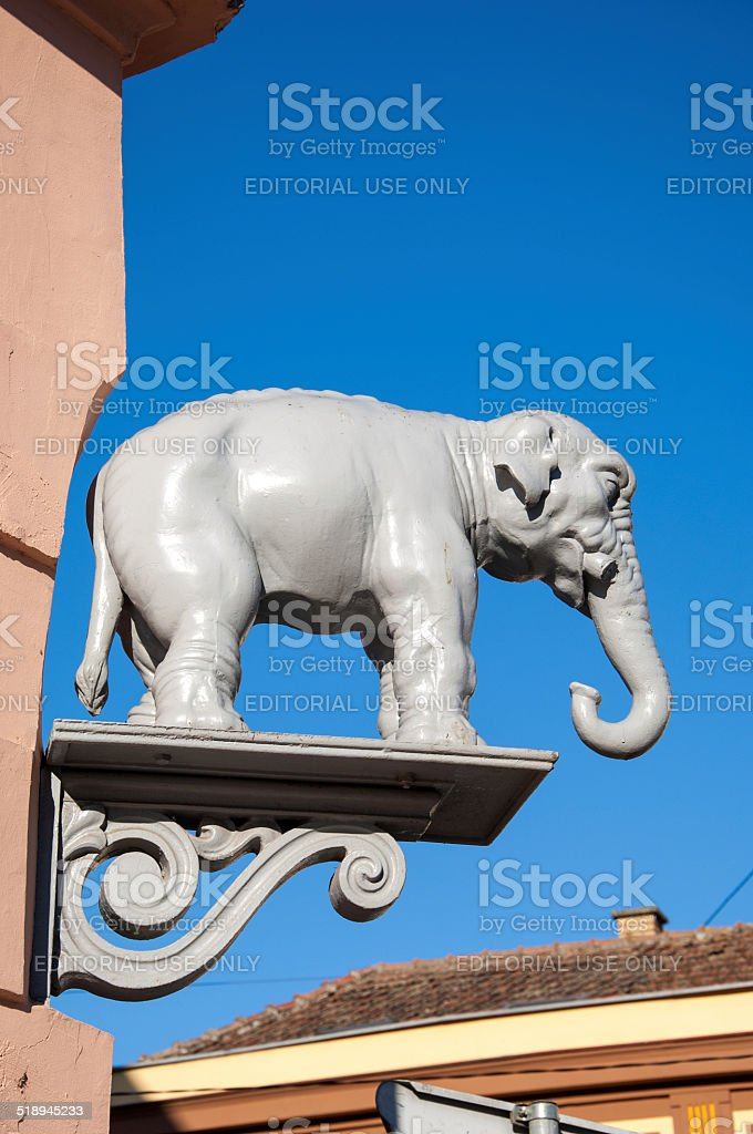 Famous elephant statue on the corner building stock photo
