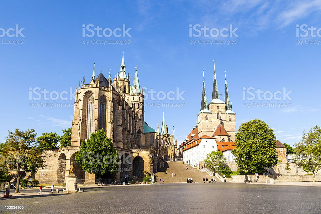 Famous Erfurt Cathedral  and St. Severus Church in Thuringia, Germany stock photo