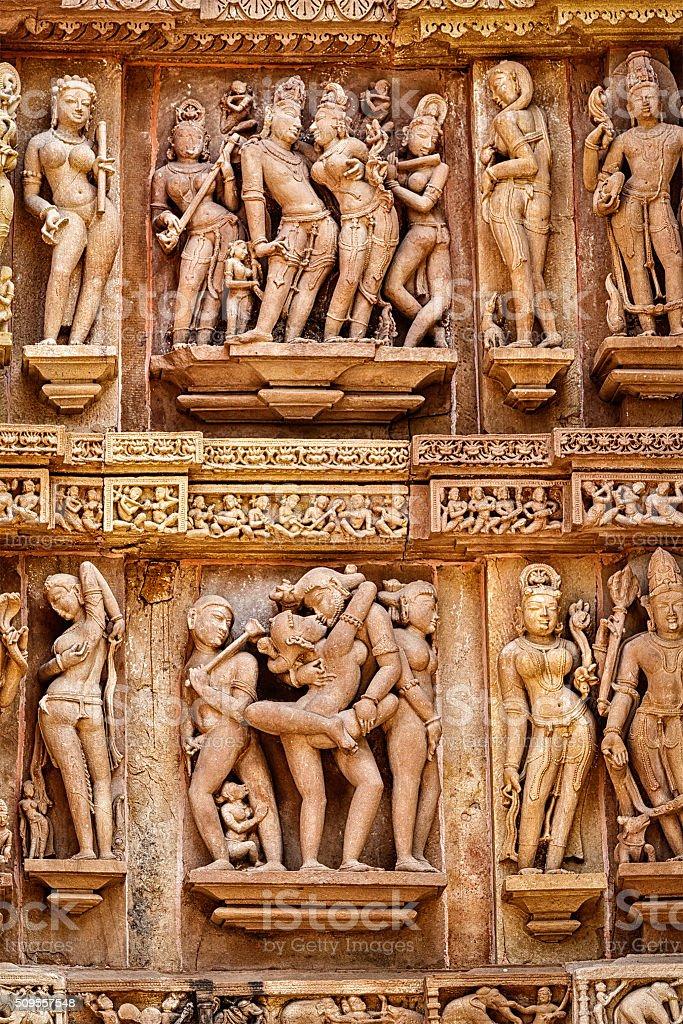 Famous erotic stone sculptures of Khajuraho stock photo