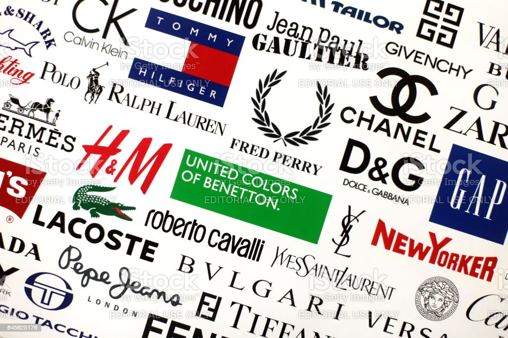 Famous fashion brands stock photo