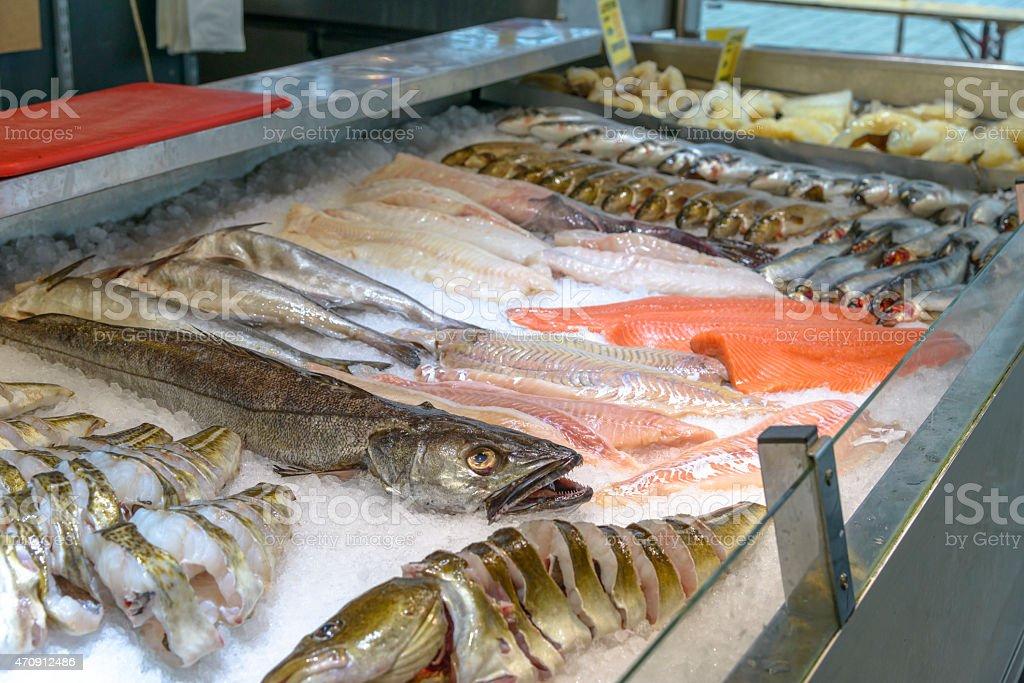 Famous Fish Market in Bergen stock photo